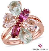Zales Julianna BTM Multi-Gemstone Cluster Split Shank Ring in Sterling Silver with 18K Rose Gold Plate