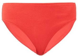 Ganni High-rise Ribbed Bikini Briefs - Womens - Red