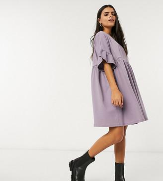 ASOS DESIGN Petite super oversized frill sleeve smock in purple ash dress