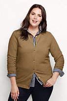 Lands' End Women's Plus Size Supima Ottoman Cardigan Sweater-White Canvas Stripe