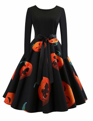 CINDYLOVER Women Halloween Dress Pumpkin Head Vintage Printing Long Sleeve Flare Swing Dress for Halloween Party Evening XXL Orange