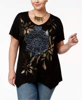 Style&Co. Style & Co Plus Size Metallic-Graphic Handkerchief-Hem Top, Created for Macy's