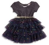Little Lass Girl's Heart Graphic Belted Dress