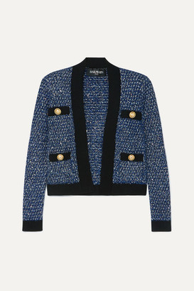 Balmain Metallic Tweed Jacket - Blue