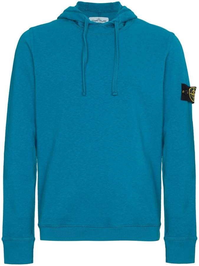 Stone Island Blue Logo Hooded Sweater