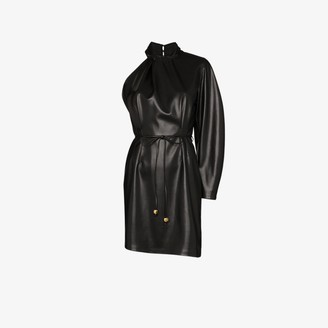 Nanushka Ida Vegan Leather One Shoulder Dress