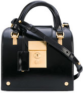 Thom Browne Mrs. Thom Mini With Shoulder Strap In Black Calf Leather