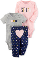 Carter's 3-Pc. Cotton Little Sister Bodysuits & Pants Set, Baby Girls (0-24 months)