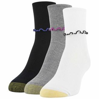Gold Toe Women's Ruffled Turn Cuff Crew Socks 3 Pairs