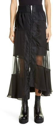 Sacai Asymmetrical Front Zip Skirt