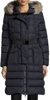 Moncler Khloe Quilted Puffer Coat w/Fur Hood, Navy