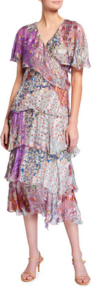 Etro Mixed-Print Tiered Silk Dress