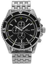 Geneva Platinum Men's Round Face Tachymeter Panther Link Watch Black/Silver