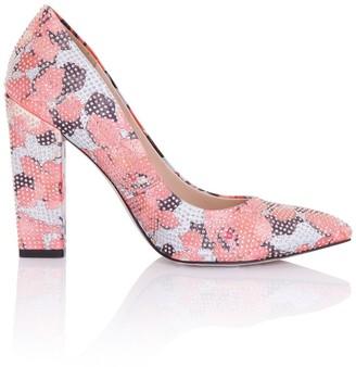Little Mistress Footwear Asteria Coral Floral Embellished Block Heel Court Shoes