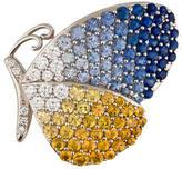 18K Sapphire & Diamond Butterfly Brooch