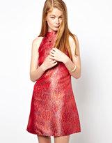 Asos Baroque Jacquard High Neck Shift Dress