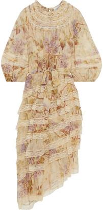 Zimmermann Sabotage Tiered Lace-trimmed Floral-print Silk-chiffon Midi Dress