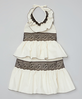 Ivory & Black Ruffle Lace Halter Dress - Infant Toddler & Girls