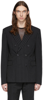 Dries Van Noten Black Pinstripe Double-Breasted Blazer