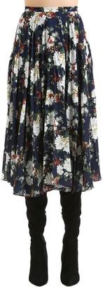 Act N°1 Floral Print Pleated Crepe Midi Skirt
