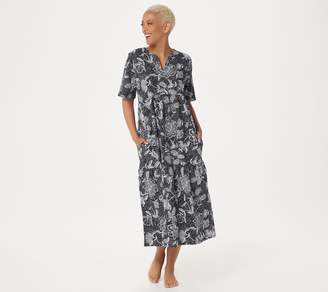 Stan Herman Stamped Floral Cotton Gown
