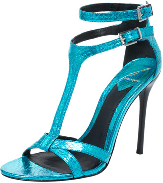 Brian Atwood Metallic Blue Python Embossed Leather T Strap Laetitia Sandals Size 39