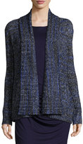 Three Dots Long-Sleeve Open-Front Tweed Cardigan