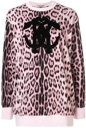 Roberto Cavalli logo leopard pattern jumper