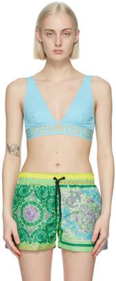Versace Underwear Blue Greca Border Triangle Bikini Top