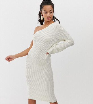 Asos DESIGN Petite one shoulder knitted midi dress-Stone