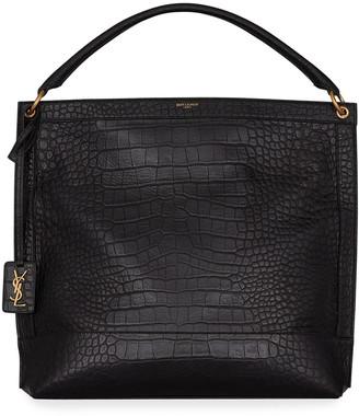 Saint Laurent Croc-Embossed Leather Hobo Bag