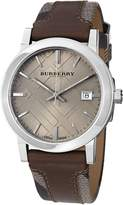 Burberry Men's BU9020 Large Check Leather on Canvas Strap Dial Watch