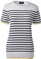Classic Women's Supima Short Sleeve Stripe Sweater-Black Space Dye