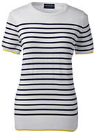 Lands' End Women's Tall Short Sleeve Supima Sweater - Stripe-White