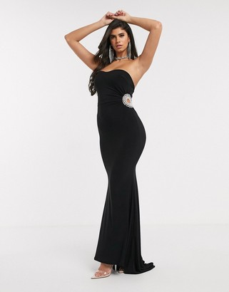 Club L London Club L diamante maxi dress in black
