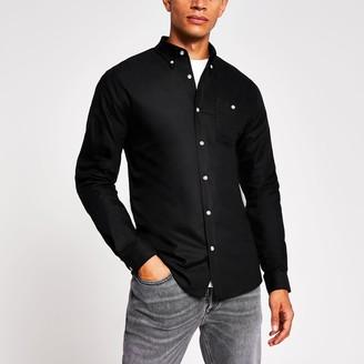 Mens River Island Maison Riviera Black slim fit oxford shirt