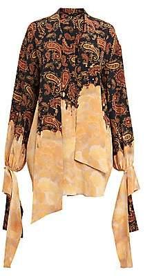 Rokh Women's Paisley & Bleached Print Draped-Cuff Silk Blouse
