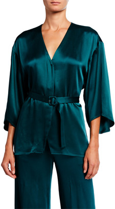 Sally LaPointe Satin Belted Kimono Top, Emerald