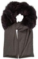 Glamour Puss Glamourpuss Fox Fur-Trimmed Knit Stole
