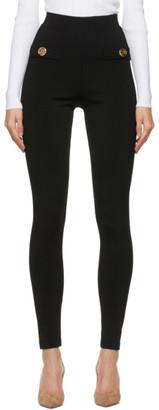 Balmain Black Viscose Zipped Leggings