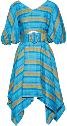 Nicholas Belted Cutout Checked Linen Dress
