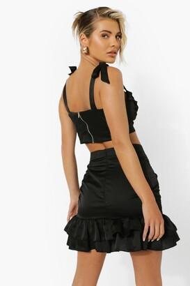 boohoo Lace Up Corset & Ruched Mini Skirt