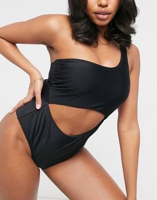Ivory Rose Fuller Bust one shoulder cut out swimsuit in black