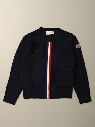 Moncler Sweater In Virgin Wool With Striped Band