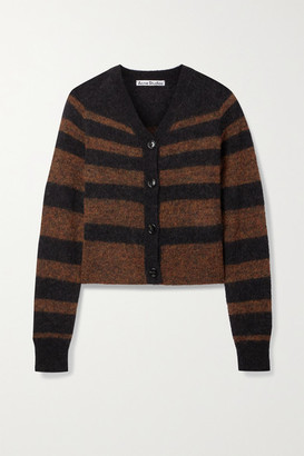 Acne Studios Striped Knitted Cardigan - Charcoal
