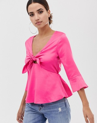 Lipsy tie front blouse-Pink