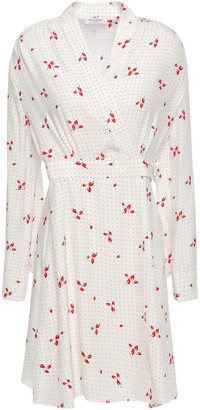 Equipment Allaire Printed Washed-silk Mini Wrap Dress