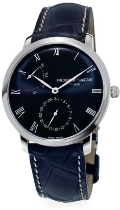 Frederique Constant Classics Manufacture Slimline Power Reserve Stainless Steel & Leather Strap Watch
