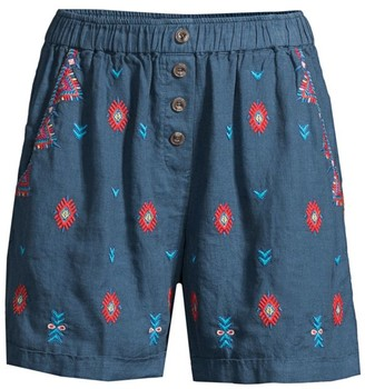 Johnny Was Laurelle Embroidered Linen Shorts
