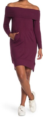 14th Place Off-The-Shoulder Tunic Sweater Dress
